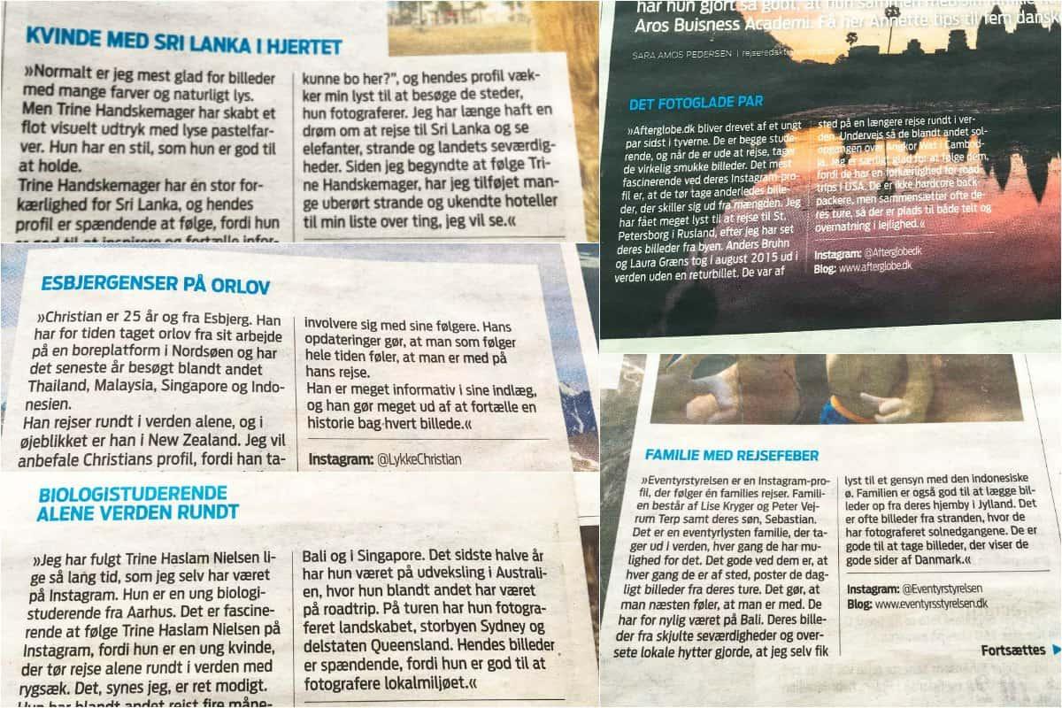 OnTrip.dk i pressen, anbefaler fem instagrammere i Jyllands-Posten