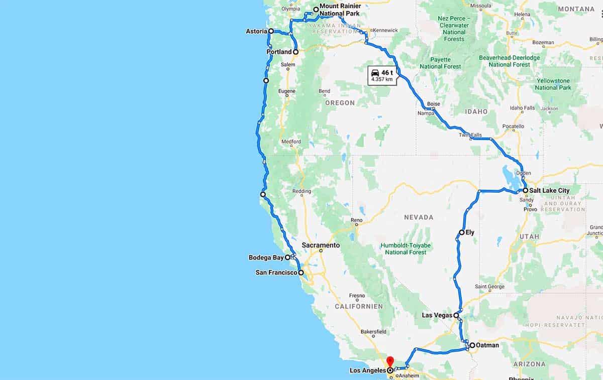Overnatninger på Road Trip Nordvestlige USA